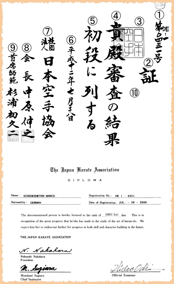 JKA diploma (sample)