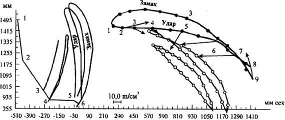 Рис. 1. Циклограмма перемещения звеньев руки и молотка от начала замаха до завершения удара (слева - ориг., справа - по Н.А. Бернштенну, 1923). На циклограмме Н.А. Бериштейна приведены рассчитанные нами векторы ускорений ц.м. молотка. На циклограмме слева - отражение лучей: от плечевого сустава - 1, от локтевого - 2, от лучезапястного - 3, от центра массы кисти - 4, от центра массы молотка - 5, от кончика молотка-6