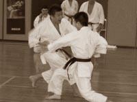 Норио Кавасаки демонстрирует технику дзию кумитэ