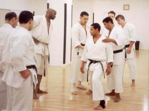 Тренировку в хомбу додзё KWF проводит Таманг Пэмба (присутствуют спортсмены и тренеры из России, США и Франции)